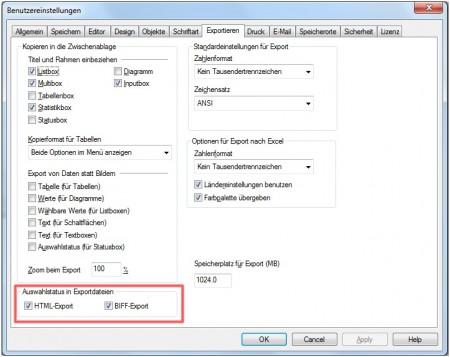 Screenshot von den Benutzereinstellungen im QlikView - IE-Plugin