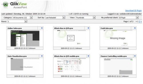 Der neue Accesspoint in QlikView 9 mit einer grafischen Voransicht der Dokumente