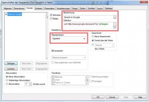 Einstellen der Repräsentation und des Inhaltes für den Hyperlink in den Eigenschaften des Diagrammes