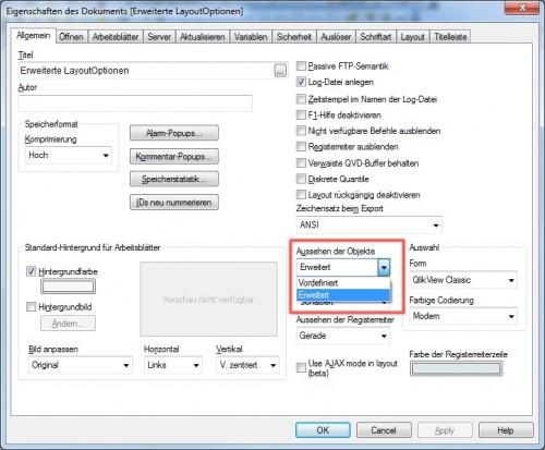 Einstellen der erweiterten Layoutoptionen in den Benutzereinstellungen