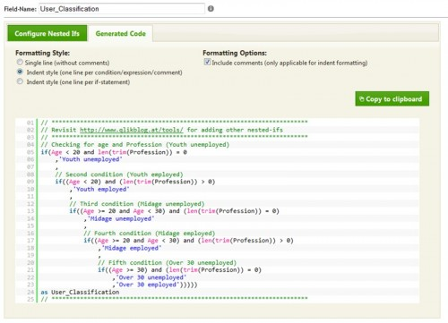 Generated Code to be used in QlikView