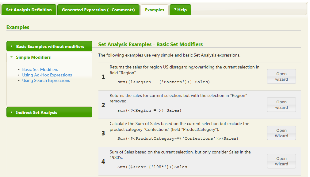 Set Analysis Wizard for QlikView