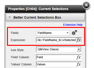 Better Current Selections Box to Translate & Hide Fields